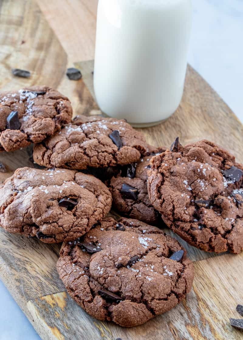 Nutella Cookies on board with milk