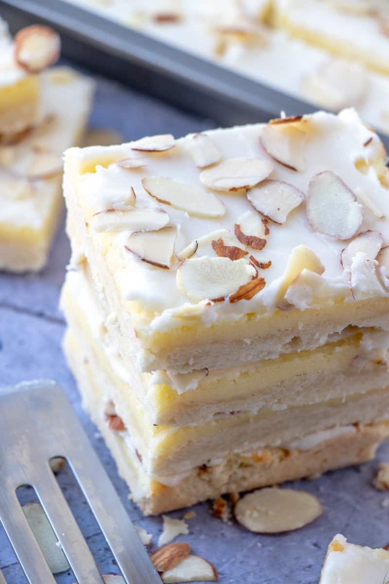 Cheesecake bars layered on top of one another