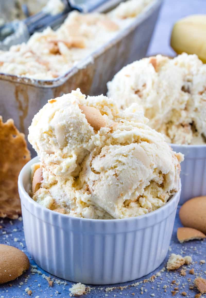 Banana Ice Cream in small bowl with crushed vanilla wafers around it