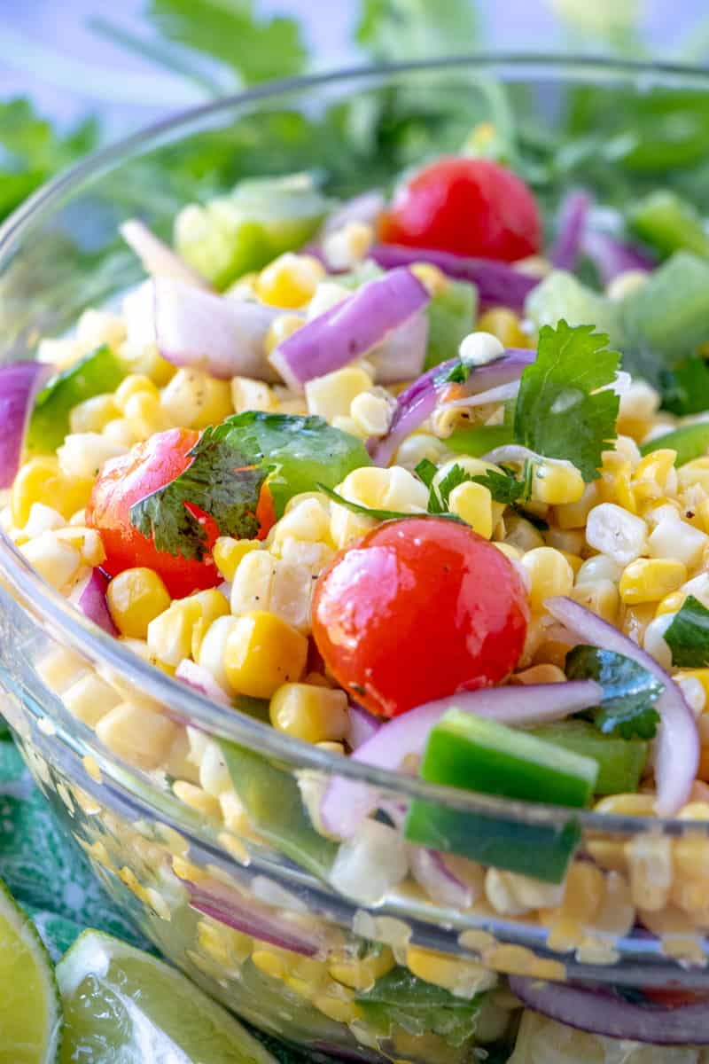 close up side view of vegetables in bowl