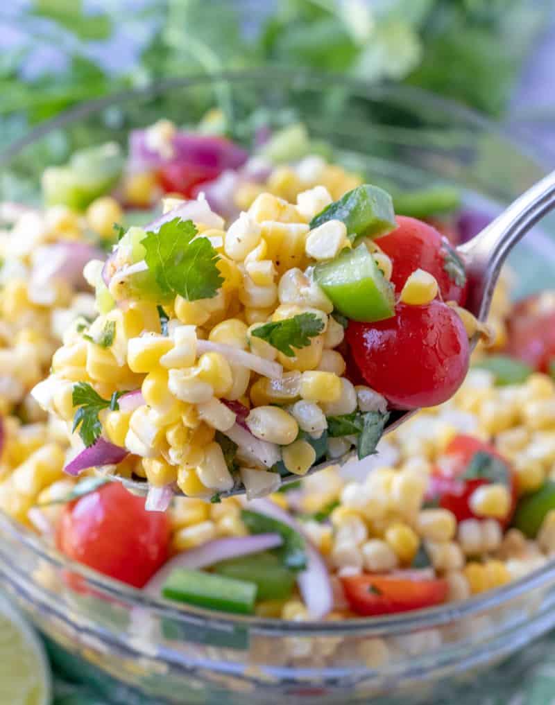 Salad on serving spoon