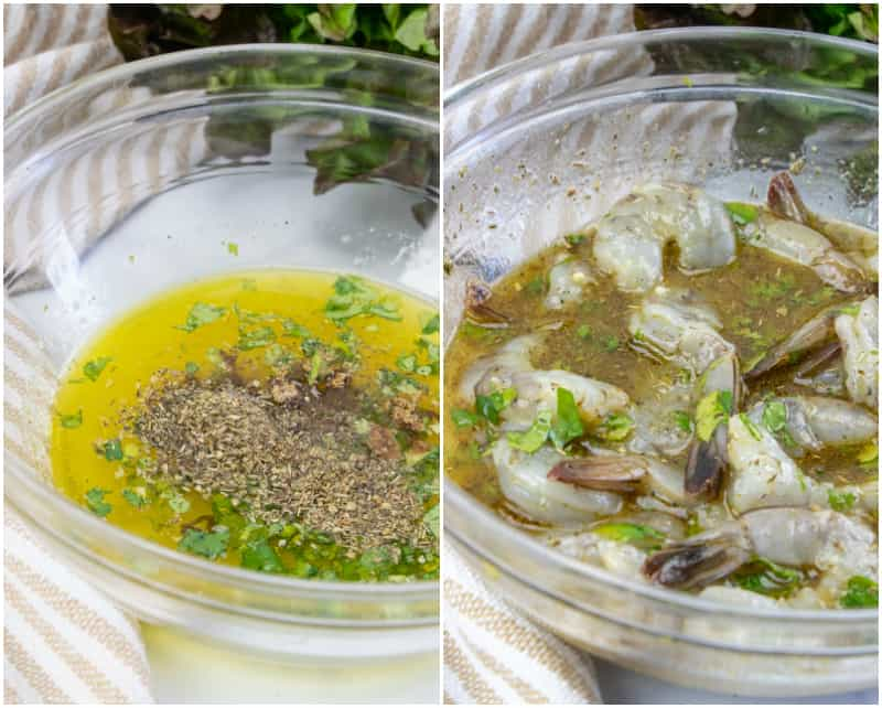 In process shots of shrimp kabobs, marinade and shrimp in marinade