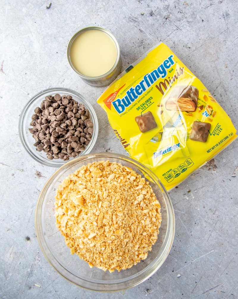 Ingredient shot of butterfinger squares