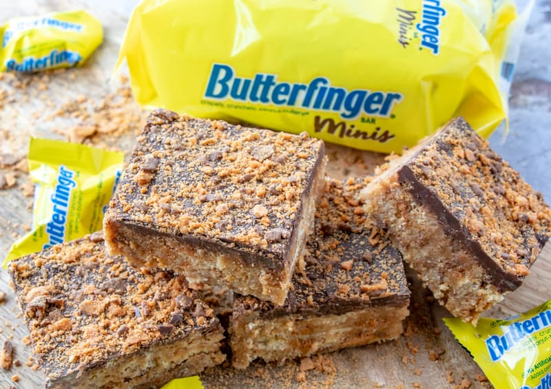 horizontal photo of stacked butterfinger squares