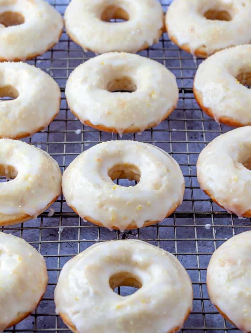 Lemon Baked Donuts on cooling rack