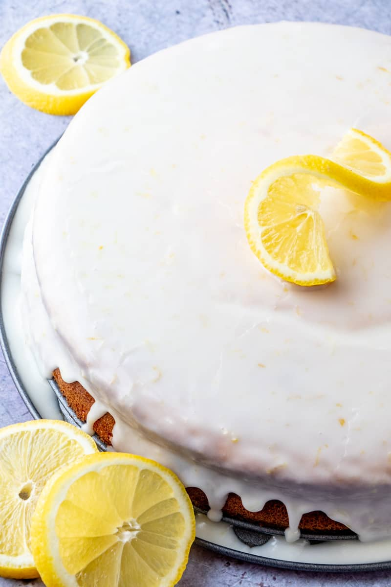 Overhead shot of Lemon Ricotta Cake with lemon slices