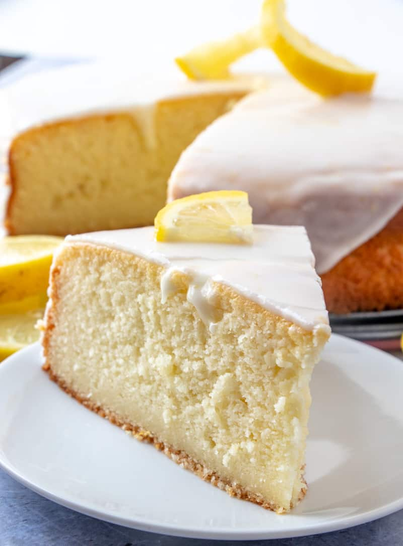 up close photo of ricotta cake on white plate