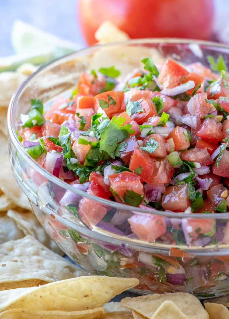 side up close shot of pico de Gallo recipe