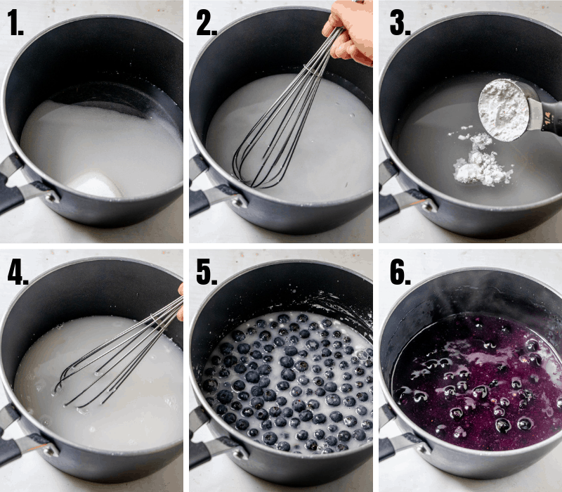 In process photos on how to make blueberry pie