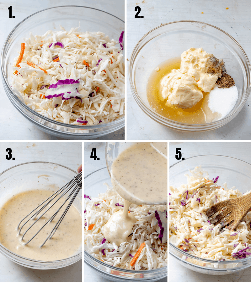 in process photos of coleslaw being made