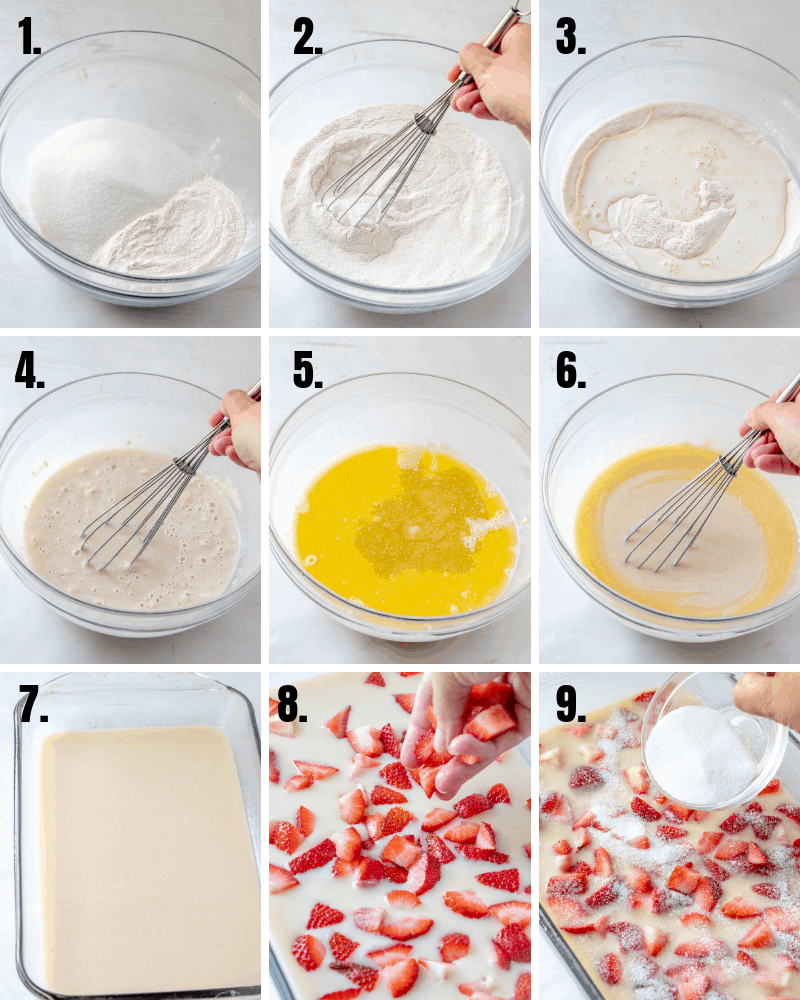 step by step photos showing how to make strawberry cobbler