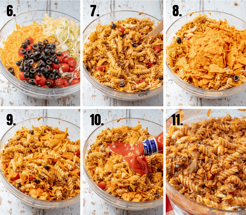 In process photos of taco pasta salad
