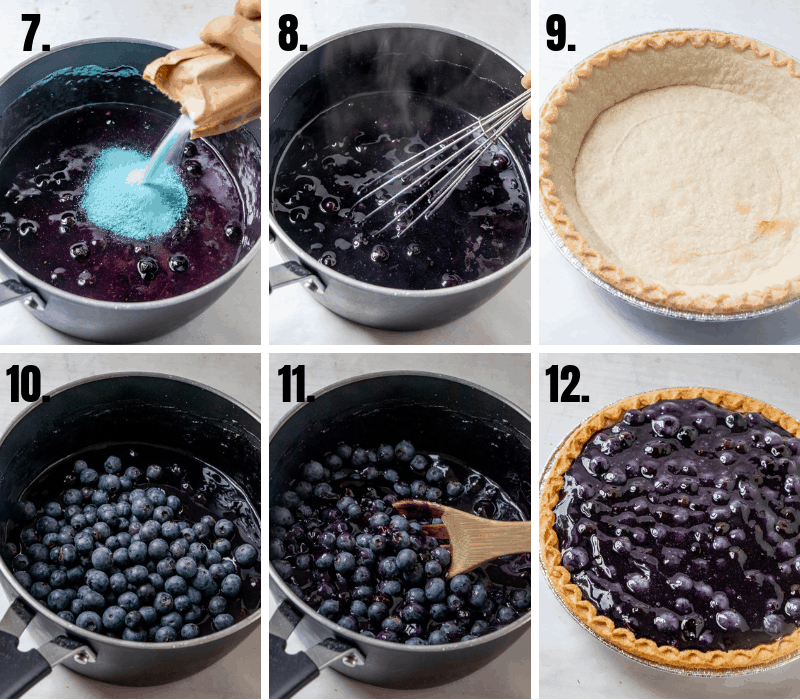 In process photos of how to make blueberry pie