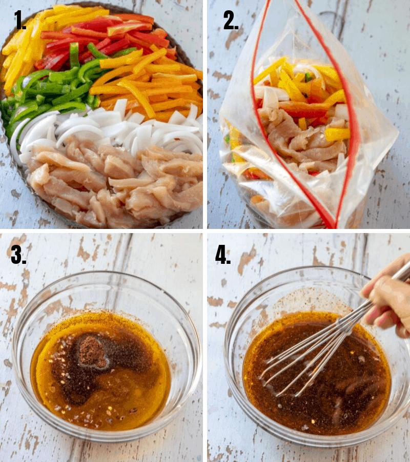 in process photos of making sheet pan chicken fajitas