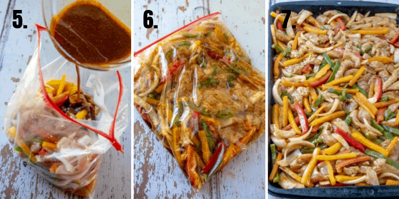 in process photos of sheet pan chicken fajitas