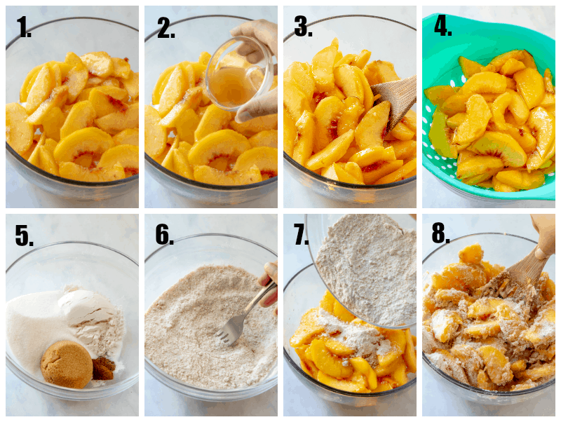 in process photos of peach pie recipe