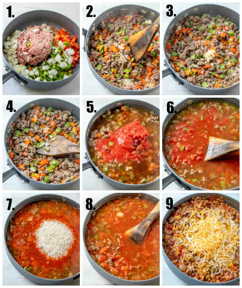 In process photos on how to make stuffed pepper casserole