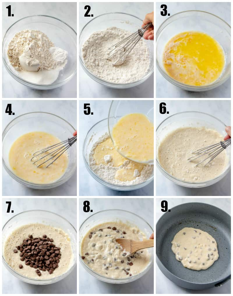In process photos of chocolate chip pancake recipe