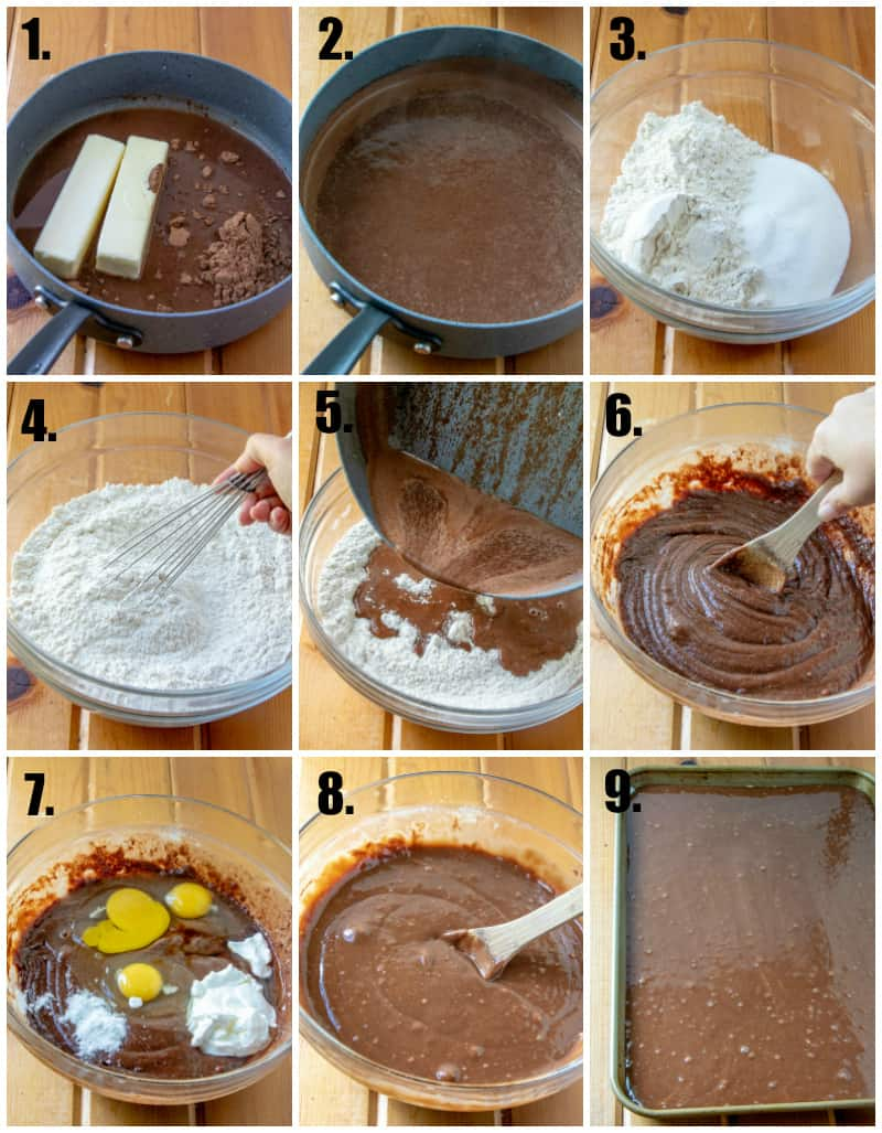 In process photos of how to make Texas sheet cake