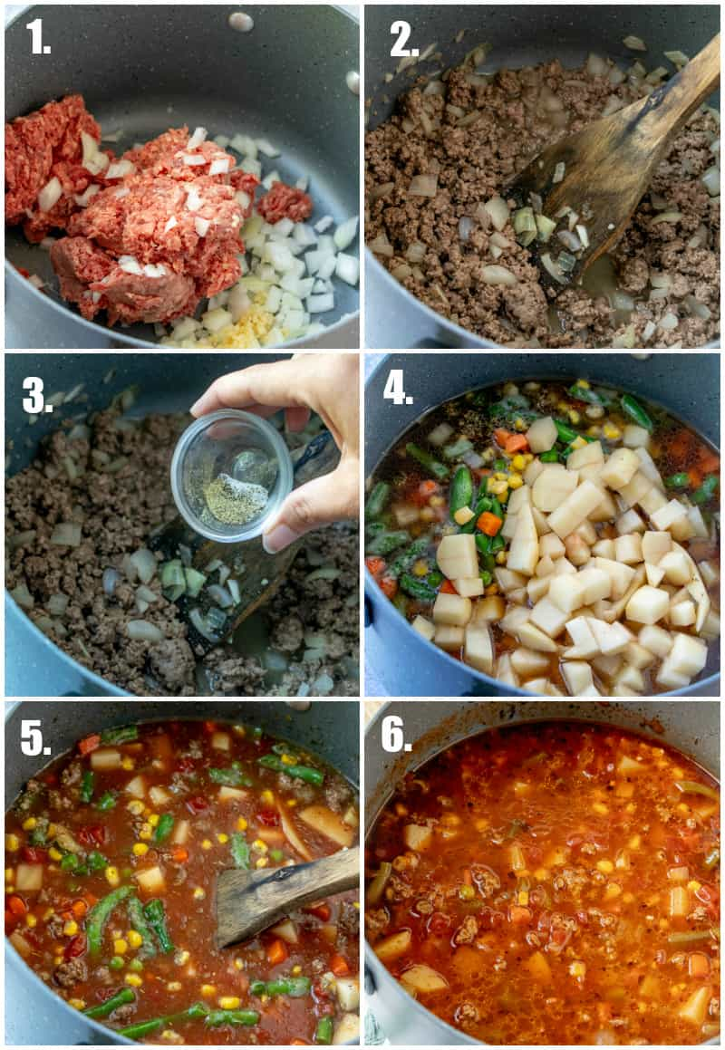 In process photos of how to make Vegetable Beef Soup