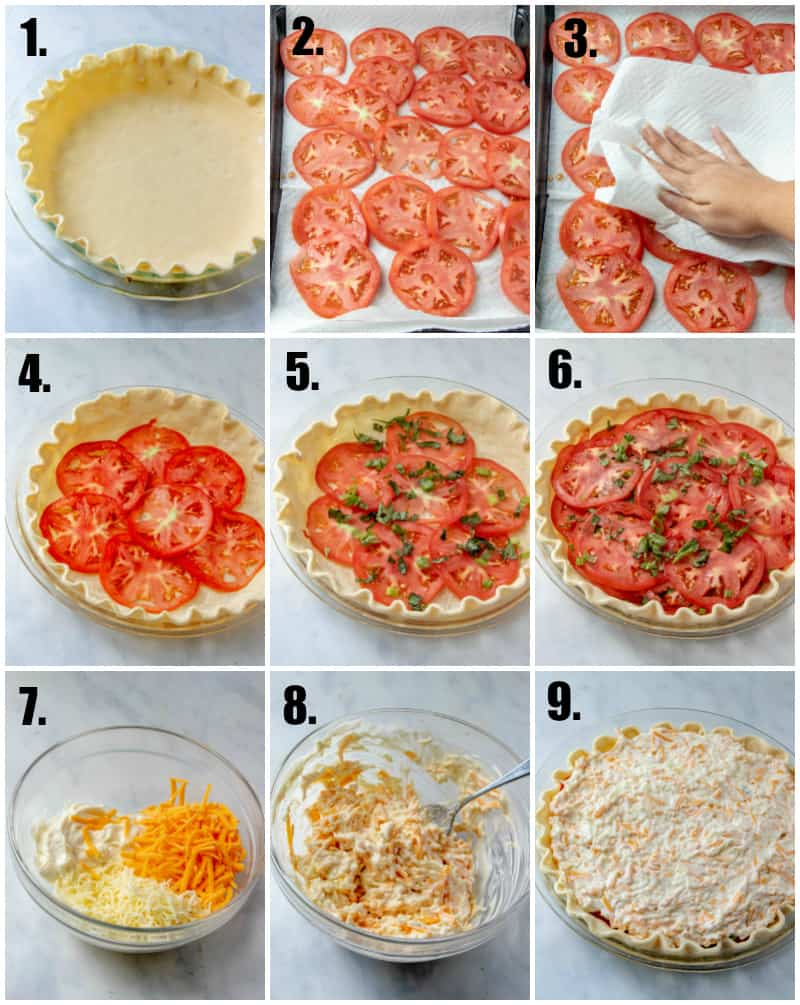 In process photos on how to make a tomato pie recipe