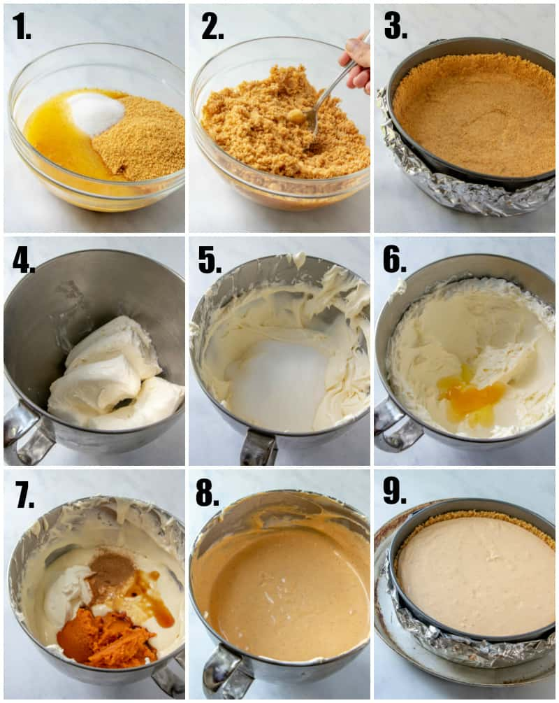 In process photos on how to make pumpkin cheesecake