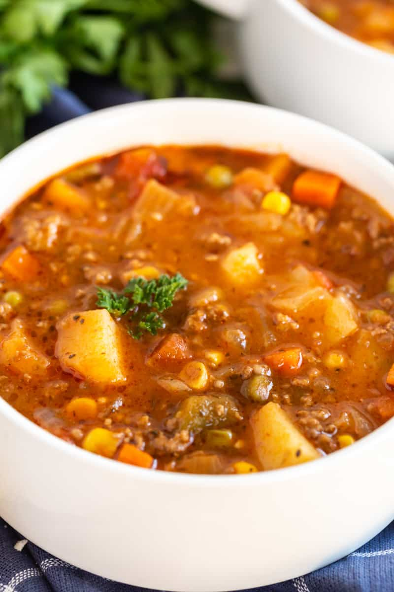 Close up of Vegetable Beef Soup in white bowl