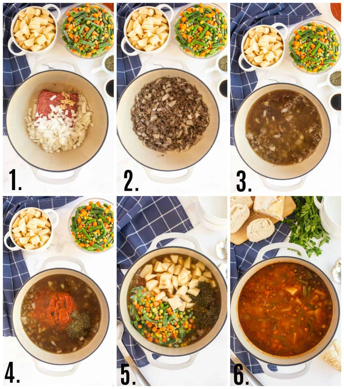 Step by step photos on how to make Vegetable Beef Soup