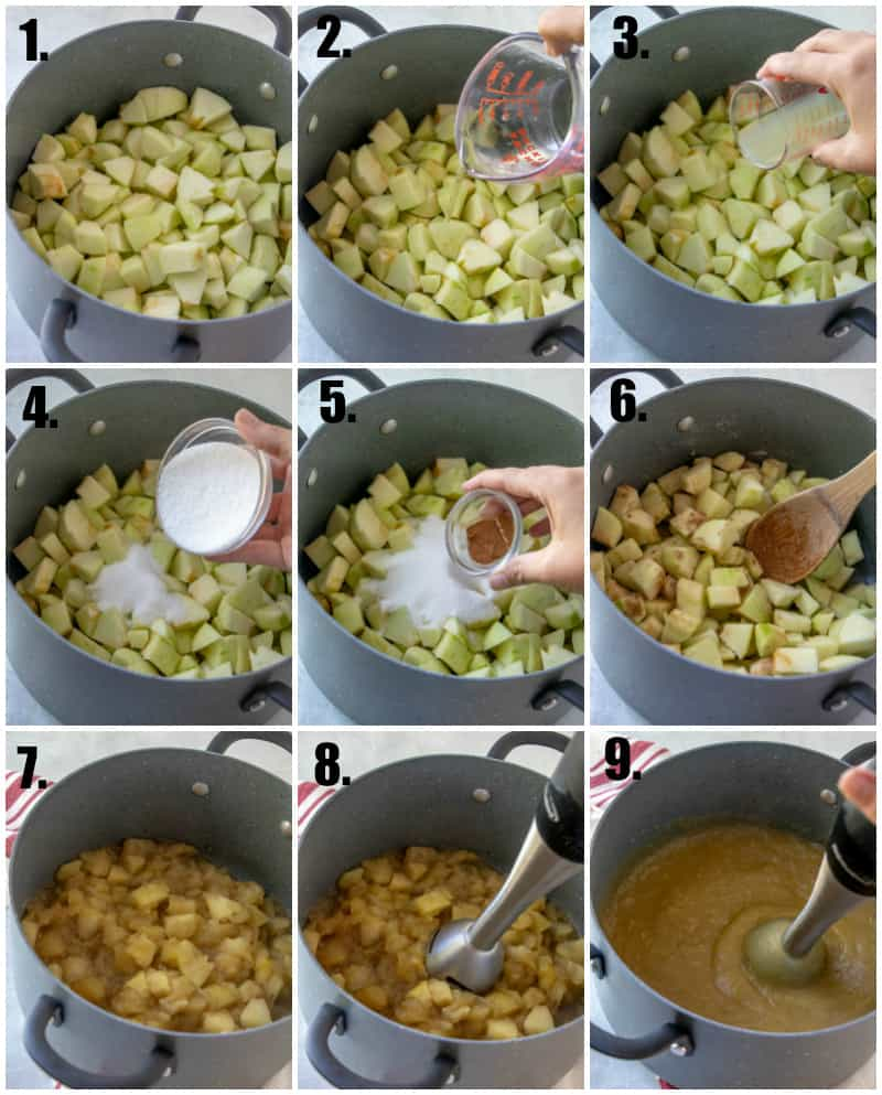 In process photos of how to make homemade applesauce