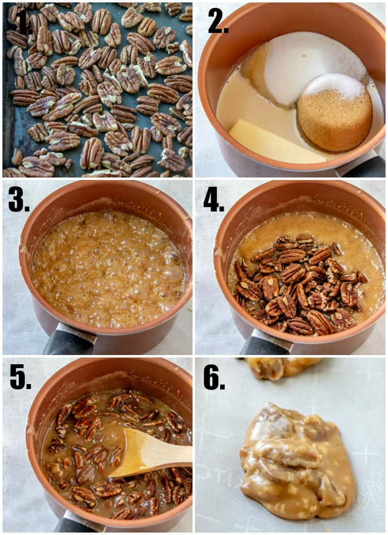 In process photos on how to make pecan pralines