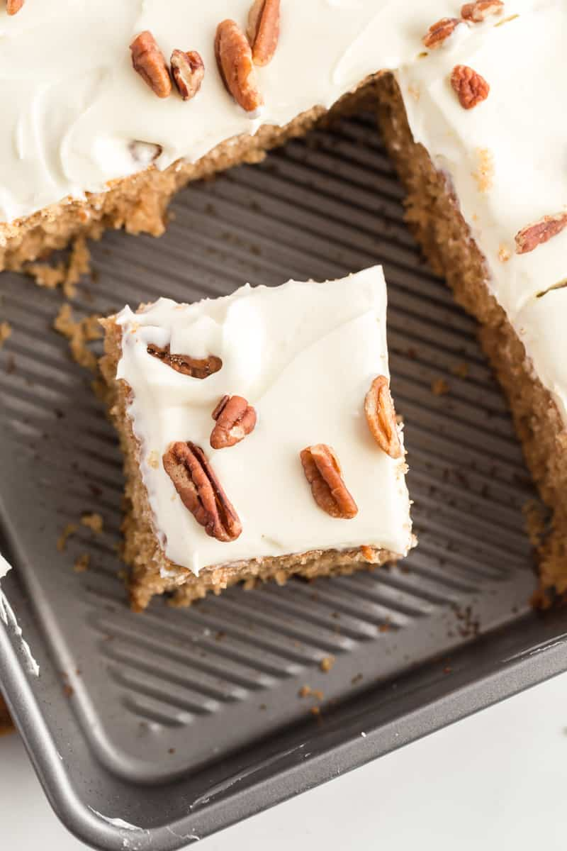 Slice of spice cake in pan