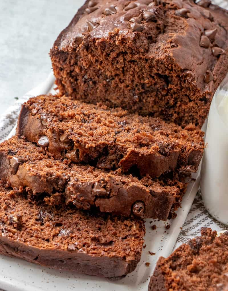 Sliced Chocolate Banana Bread showing chocolate chips in each slice and milk string beside bread