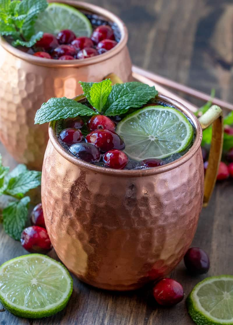 Finished Moscow mules in mugs showing the condensation on the copper