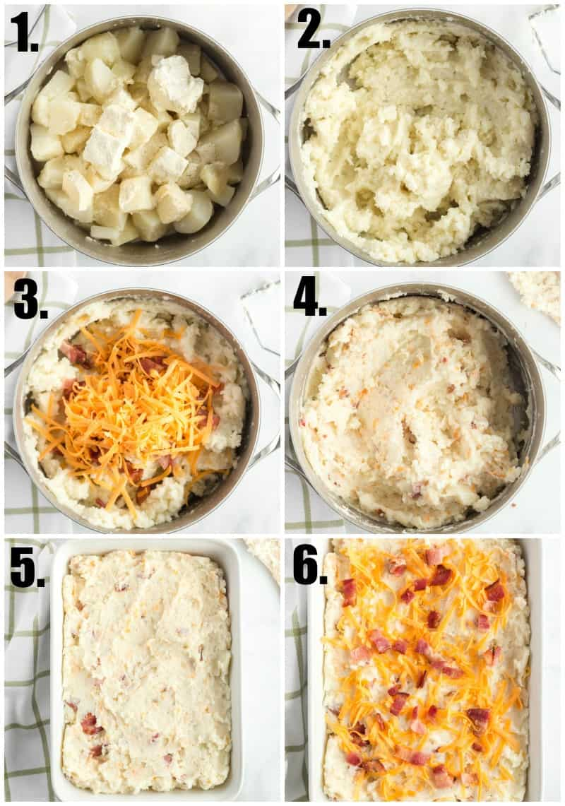 Step by step photos on how to make mashed potato casserole