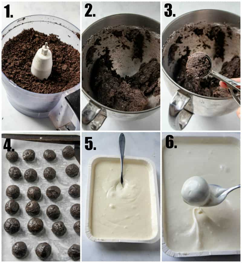 Step by step photos on how to make Oreo Truffles