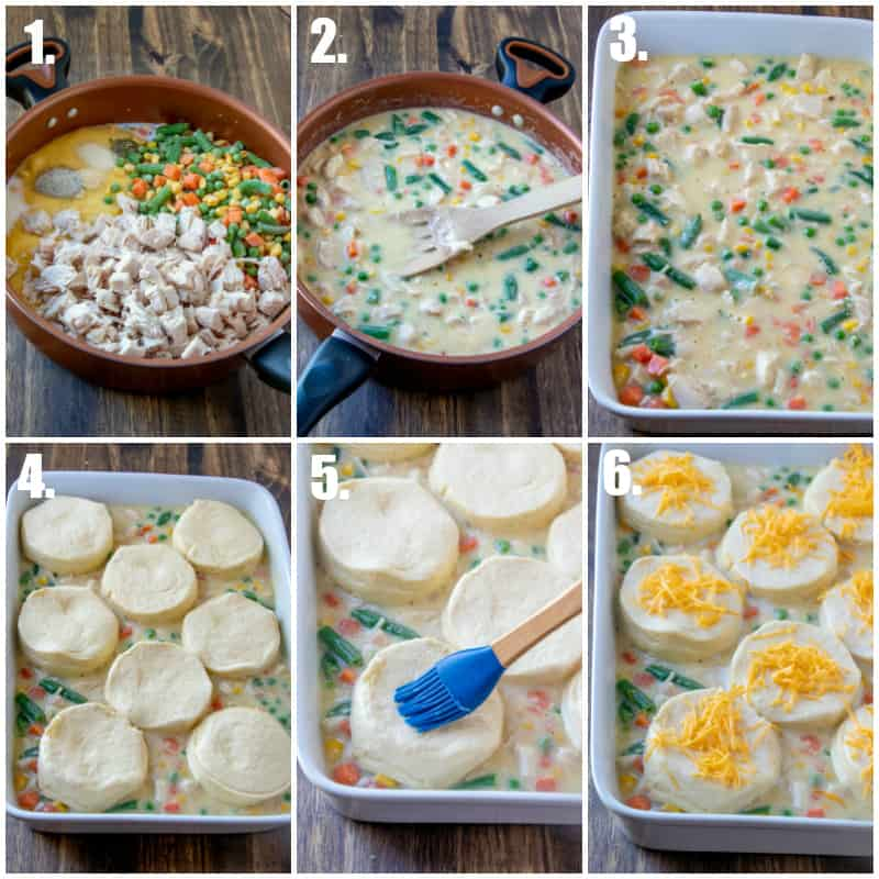 Step by step photos on how to make chicken pot pie casserole
