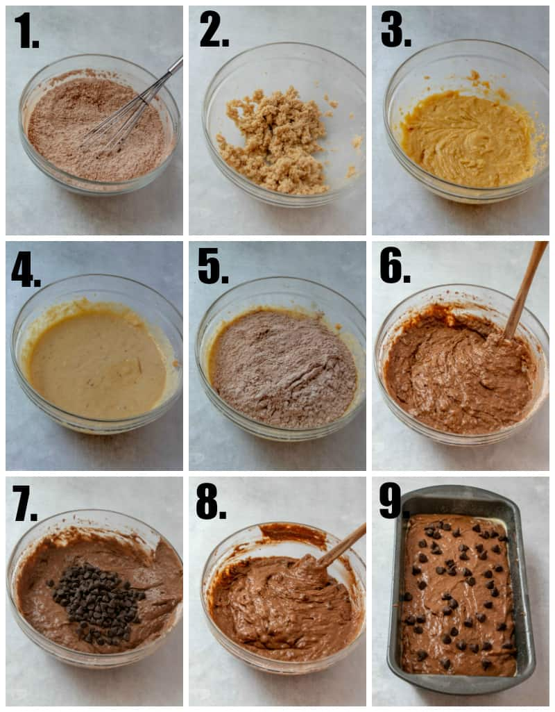 Step by step photos on how to make Chocolate Banana Bread