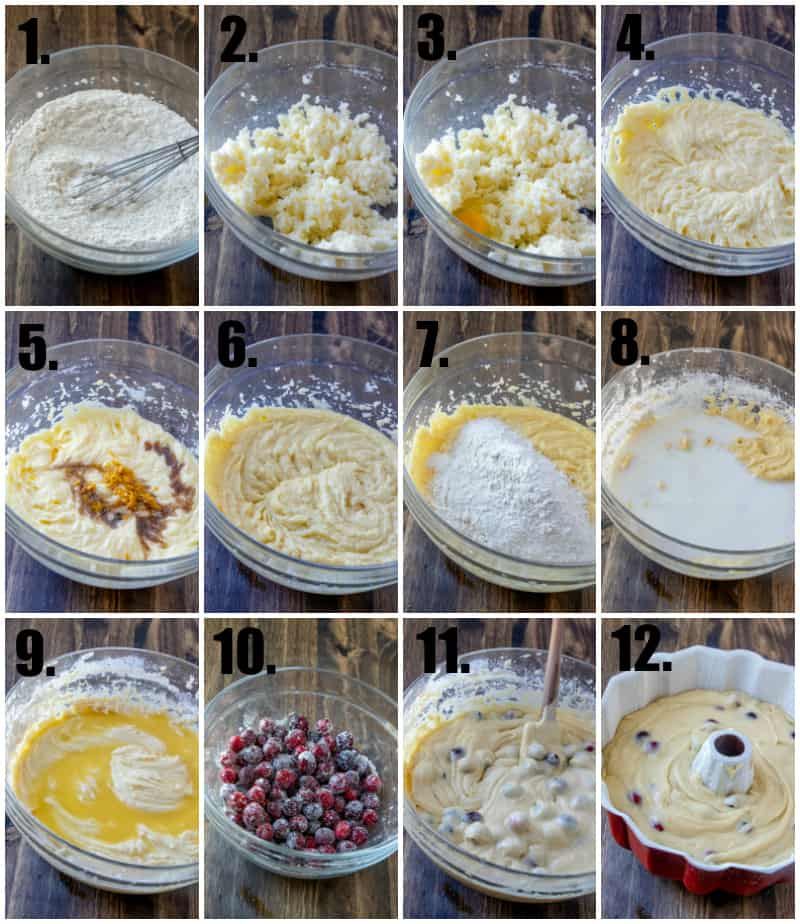 Step by step photos on how to make Cranberry Orange Bundt Cake
