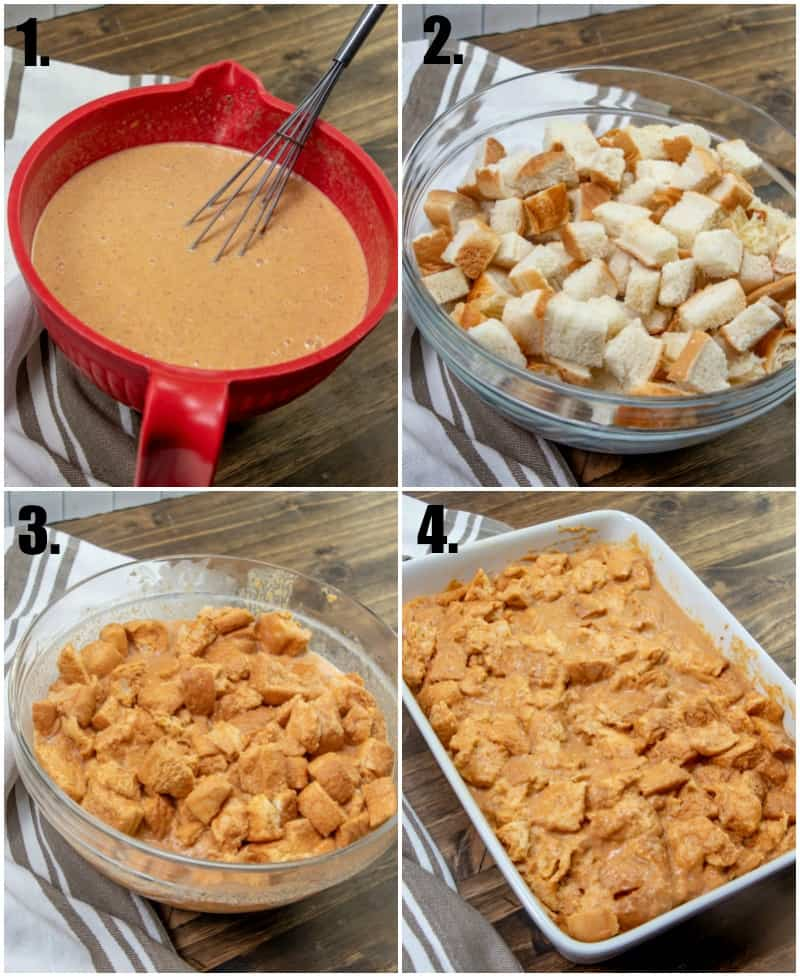 Step by step photos on how to make Pumpkin Bread Pudding