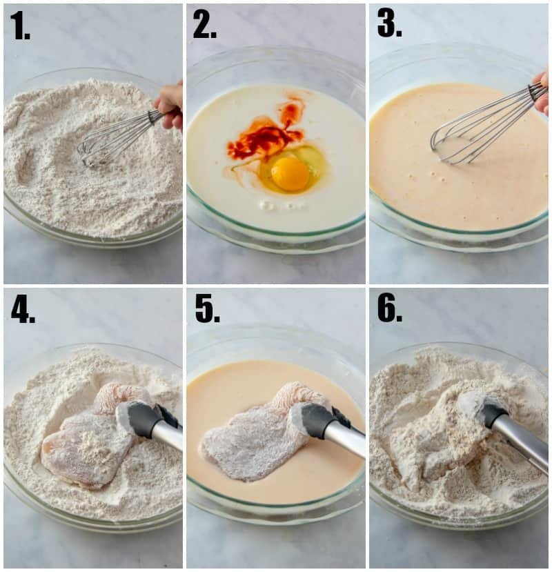 Step by step photos on how to make chicken fried chicken