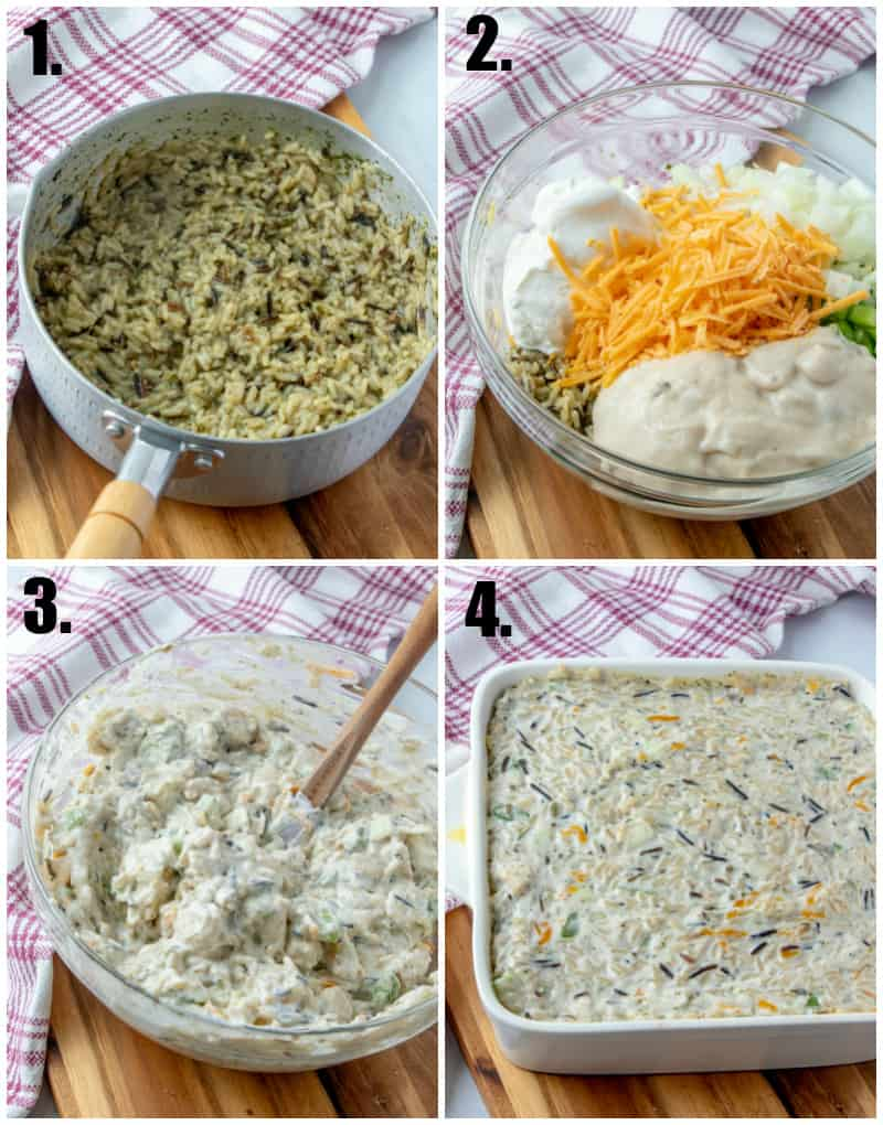 Step by step photos on how to make chicken wild rice casserole