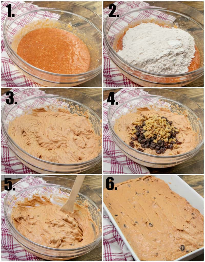 Step by step photos on how to make tomato soup cake