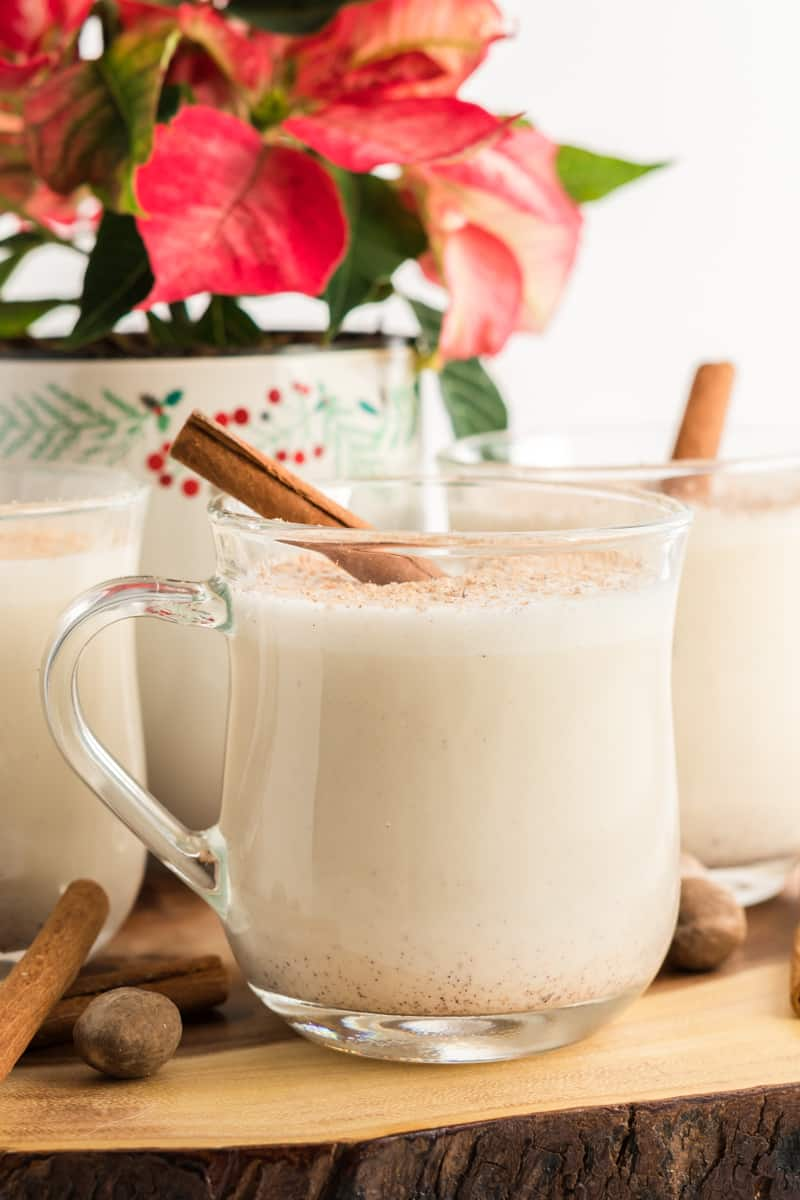 Homemade Eggnog In mug on wooden platter with cinnamon stick and poinsettia in background
