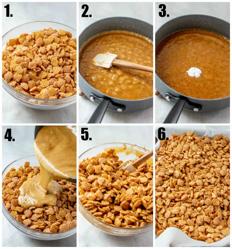 Step by step photos on how to make Crispix Mix Recipe