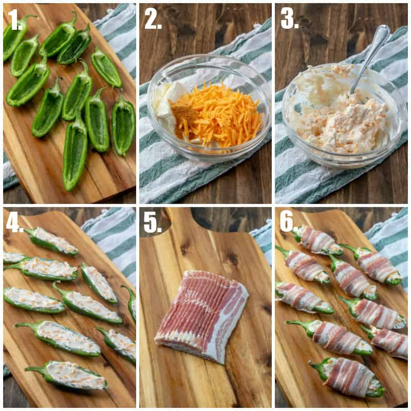 Step by step photos on how to make bacon wrapped jalapeno poppers