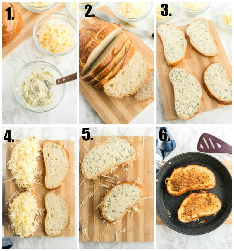 Step by step photos on how to make a grilled cheese sandwich
