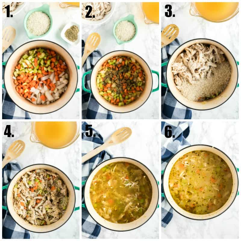 Step by step photos on how to make chicken rice soup