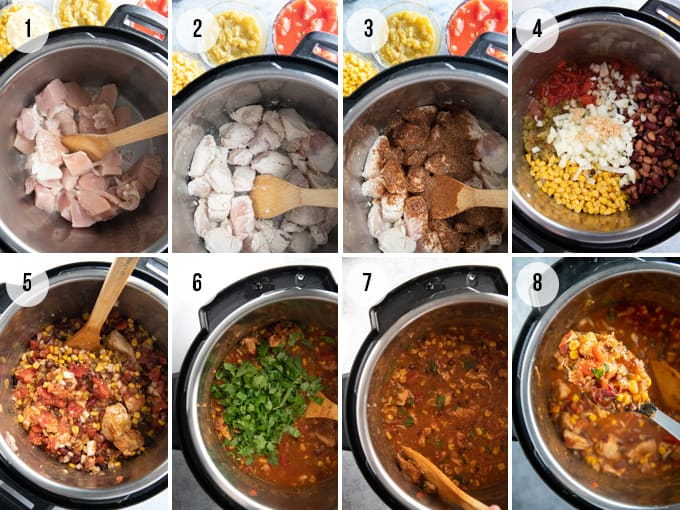 step by step photos of how to make instant pot chicken chili