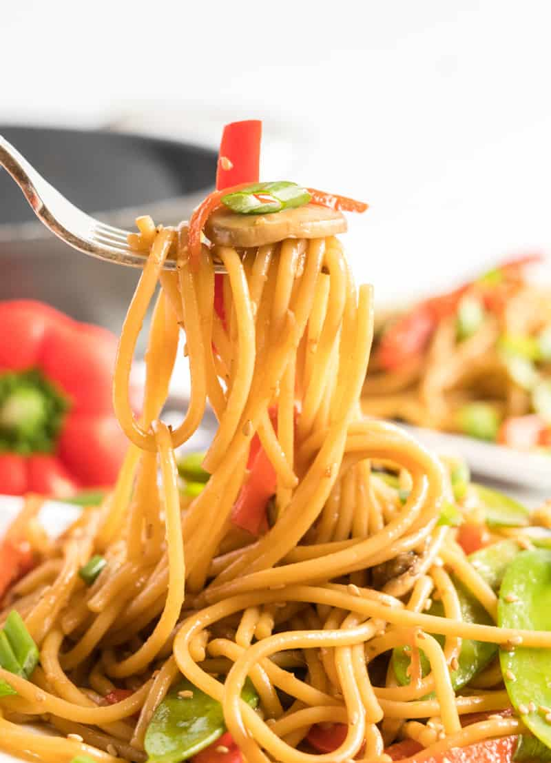 Fork full of vegetable lo mein showing the noodles and vegetables being pulled up from plate.
