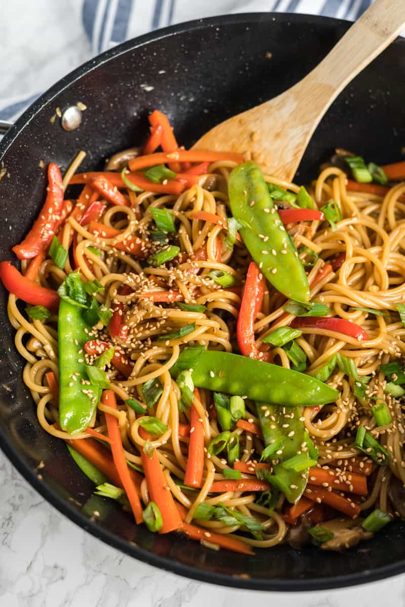 Lo Mein in wok stirred up ready to dish up